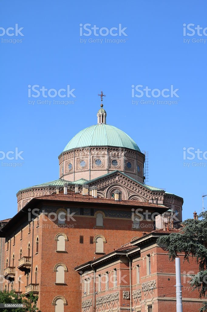 View to Church Sacred Heart of Jesus in Bologna, Italy stock photo
