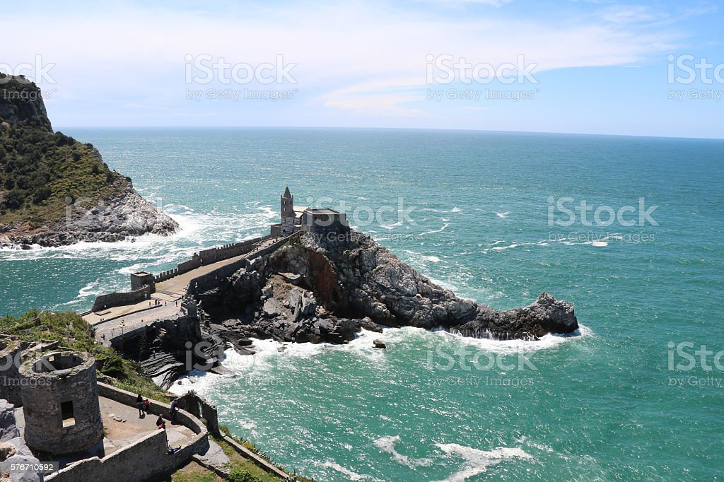 View to Church San Pietro in Porto Venere, Italy stock photo