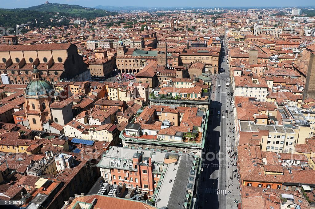 View to City centre of Bologna in Italy stock photo