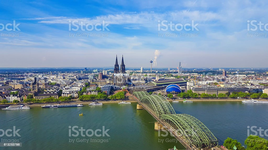 view to Cologne Cathedral and Hohenzollern bridge stock photo