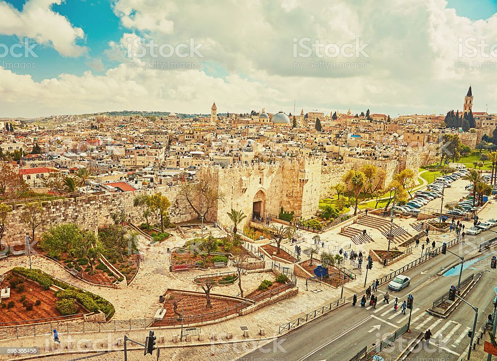 View to Damascus Gate and old Jerusalem City stock photo