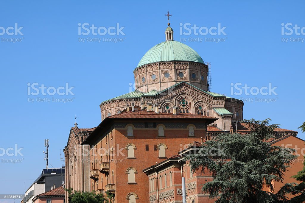 View to Dome Church Sacred Heart of Jesus, Bologna Italy stock photo