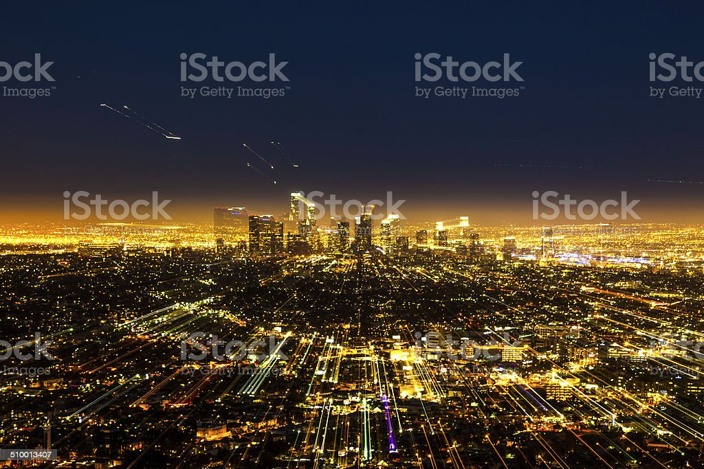 view to downtown Los Angeles with zoom effect stock photo