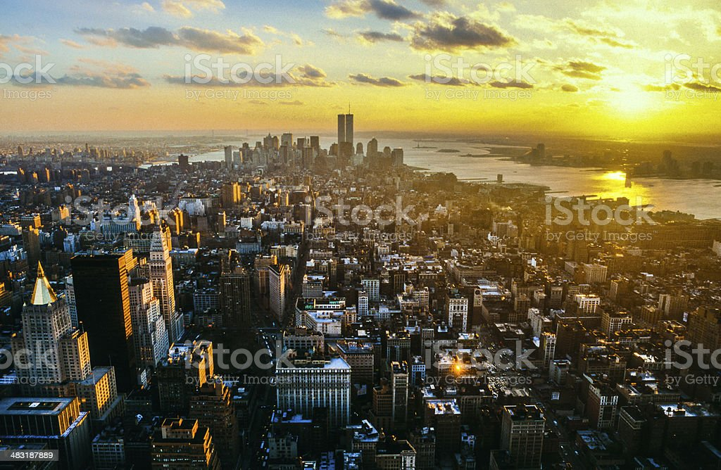 view to downtown Manhattan with the twin towers stock photo