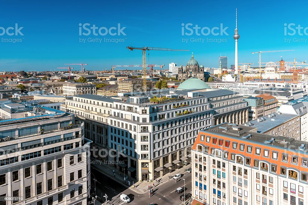view to east berlin with television tower, cathedral and crans stock photo