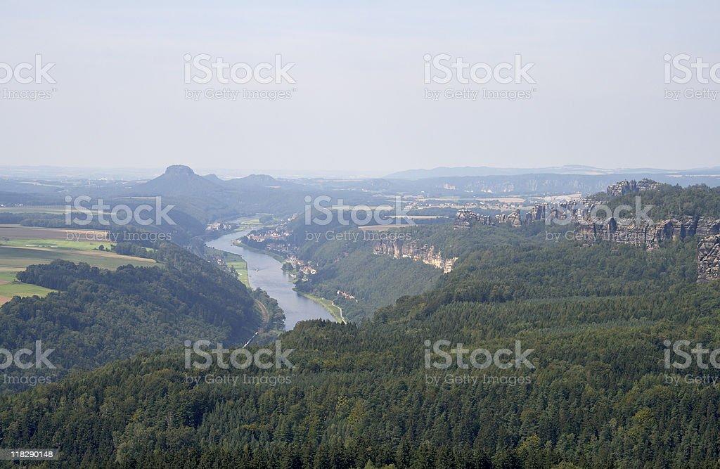 View to Elbe Sandstone Mountains stock photo