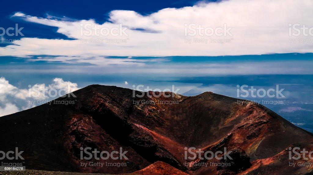 View to Etna volcano, climbing process, Sicily Italy stock photo