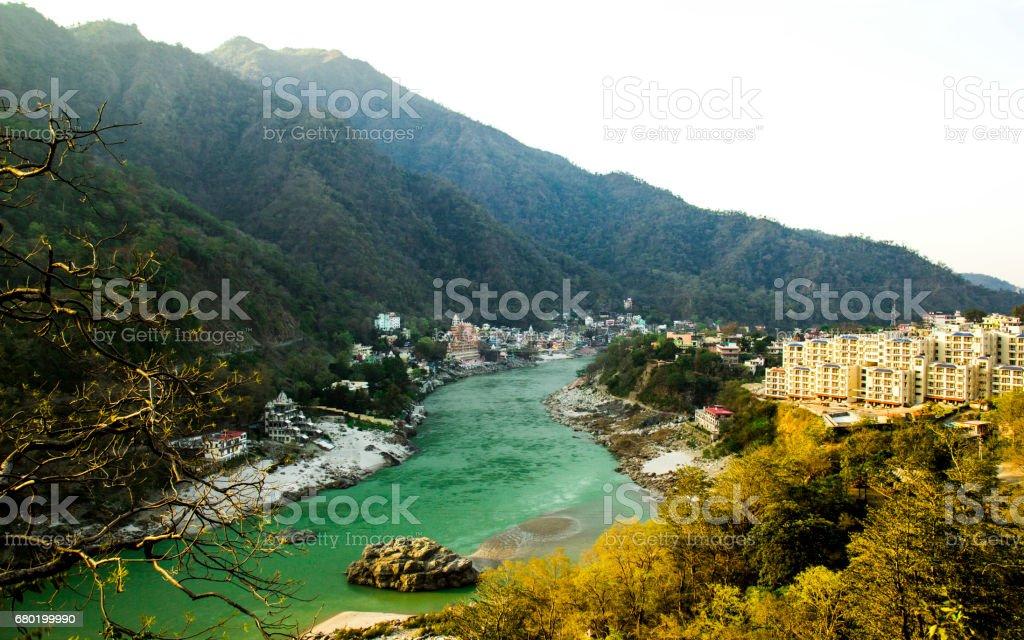 RISHIKESH, INDIA - view to Ganga river stock photo