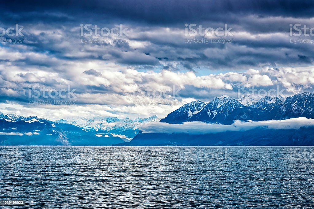 View to Geneva Lake and Montblanc region peaks from Lausanne stock photo