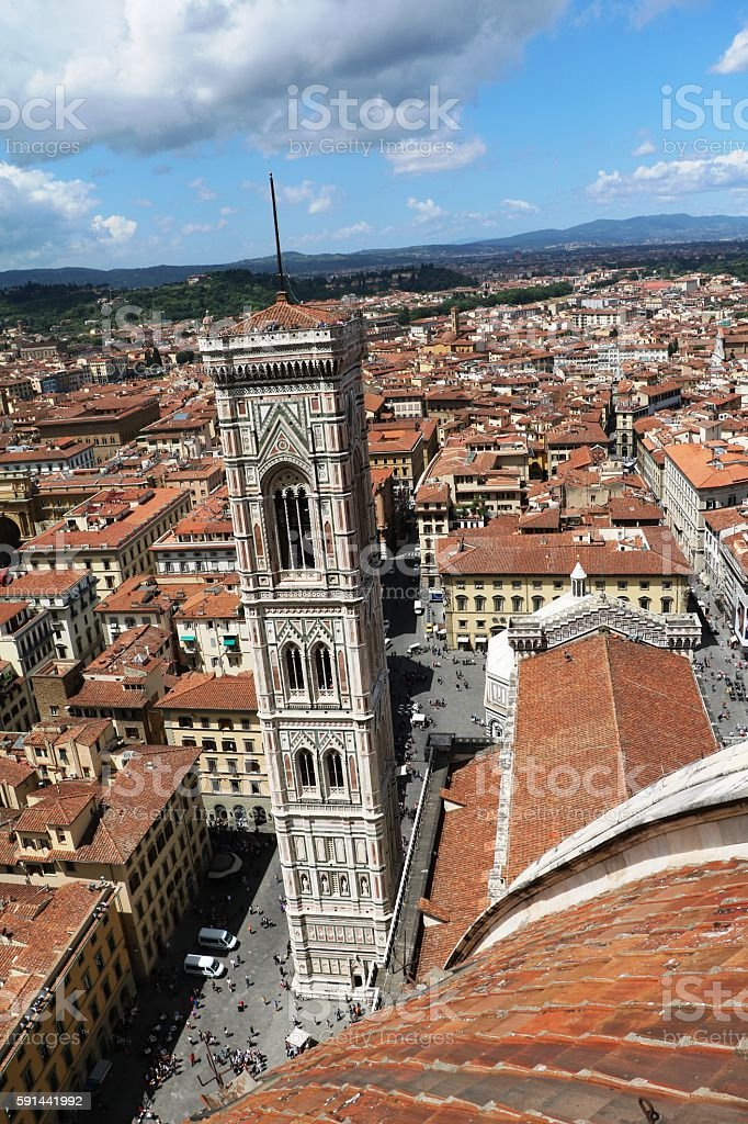 View to Giotto Campanile at Piazza del duomo, Florence Italy stock photo