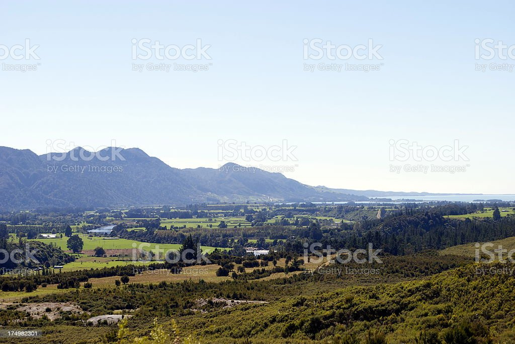View to Golden Bay from the Aorere Goldfields, NZ royalty-free stock photo