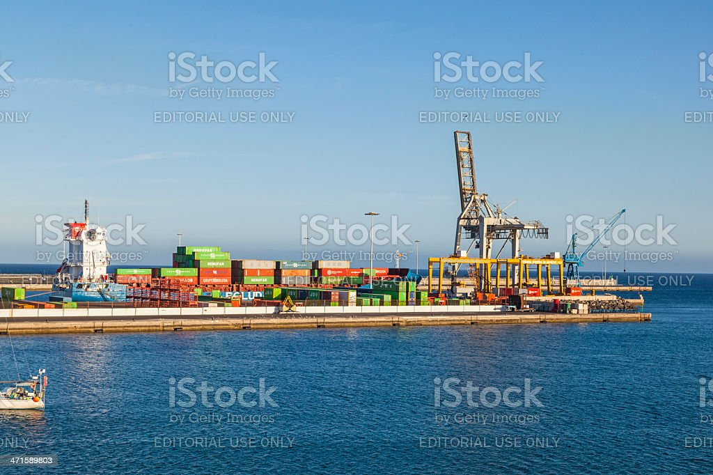 view to harbor of  Puerto Naos in Arrecife, Spain royalty-free stock photo