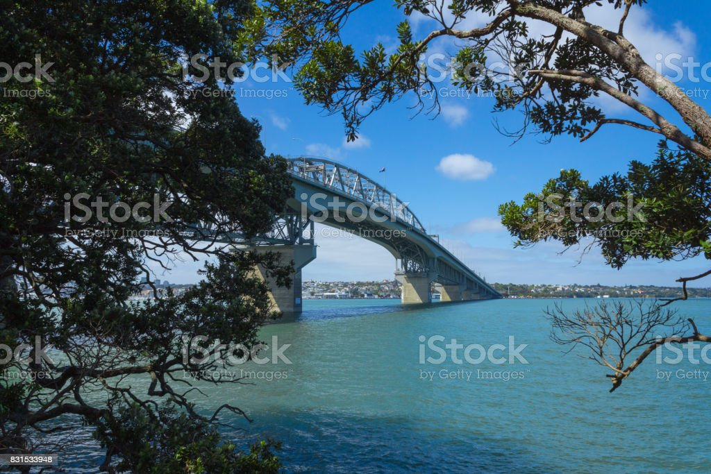 View to Harbour Bridge from Northcote Point Auckland, New Zealand stock photo
