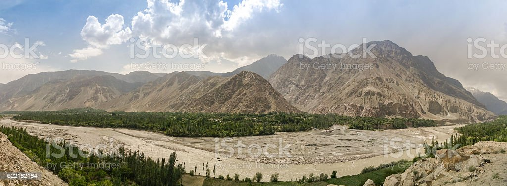 View to Hunza river and valley Pakistan stock photo