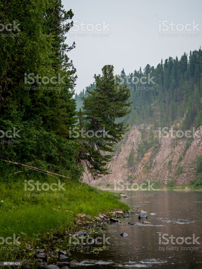 view to ilych river stock photo