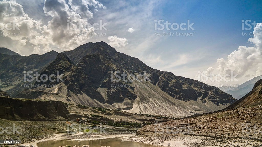 View to Indus river and valley, Karakoram Pakistan stock photo