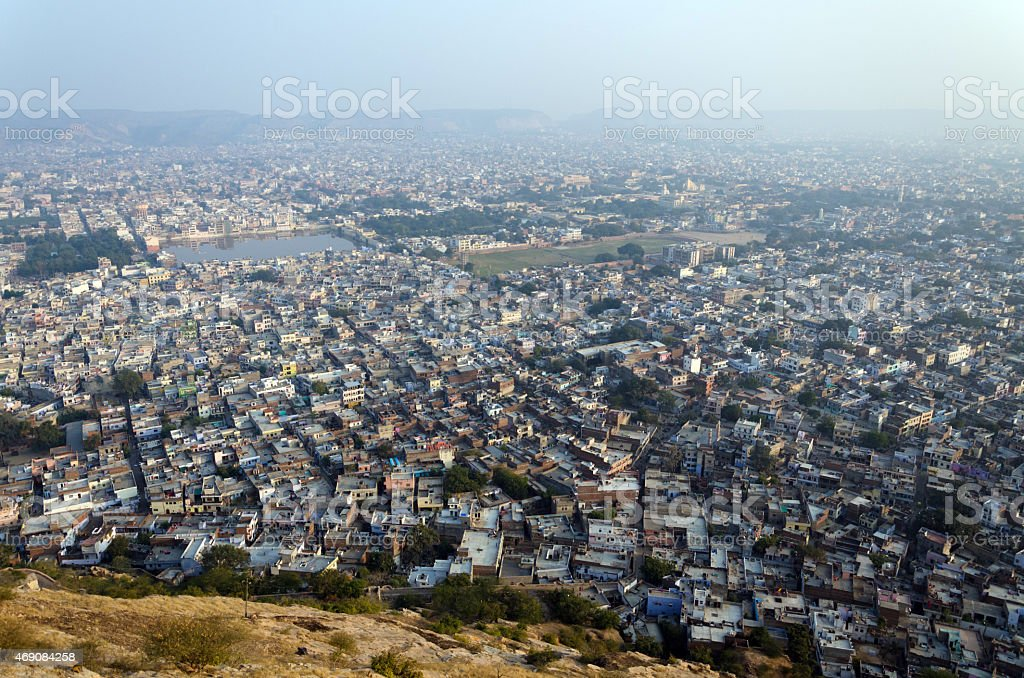 View to Jaipur city from Nahargarh fort stock photo