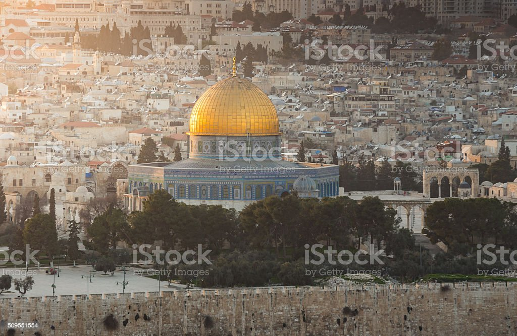 View to Jerusalem old city. Israel stock photo