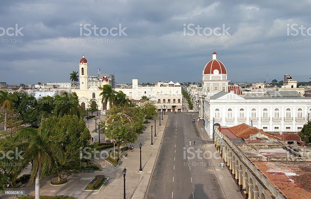 View to Jose Marti square, Cienfuegos, Cuba royalty-free stock photo
