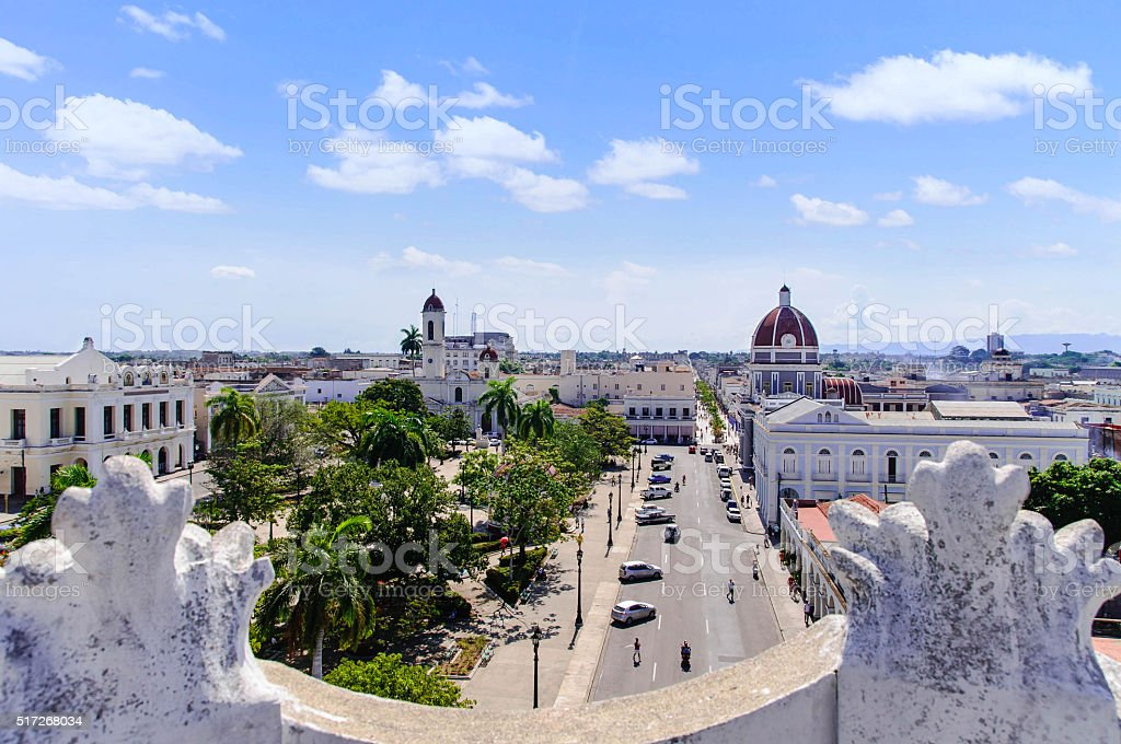 View to Jose Marti square in Cienfuegos stock photo