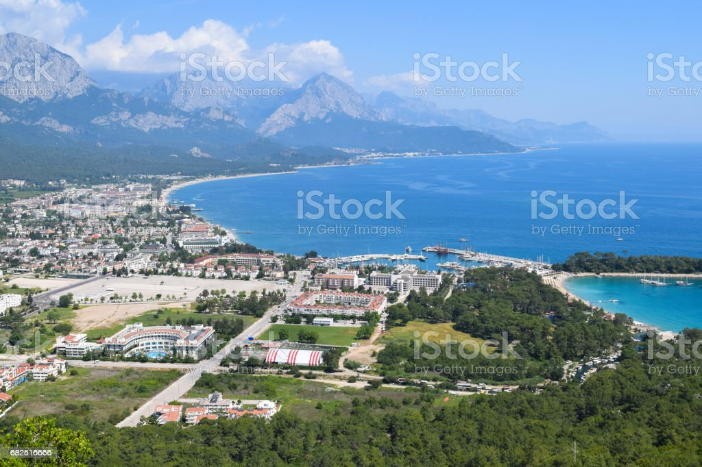 View to Kemer town from Calis Tepe (mountain). Turkey. Asia Minor stock photo