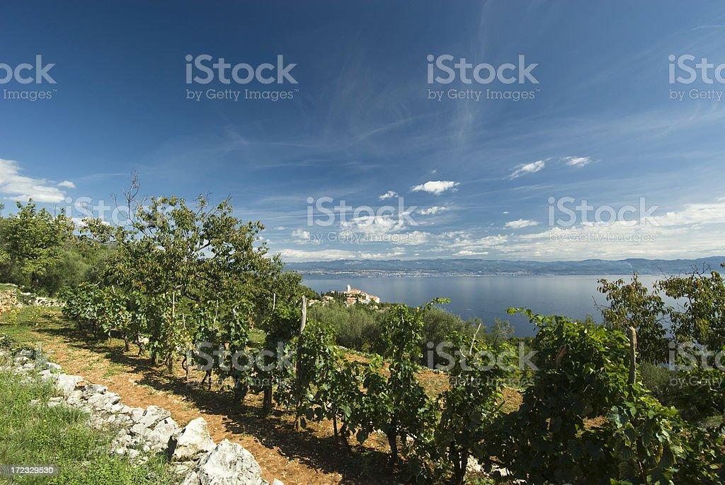 View to Kvarner Bay stock photo