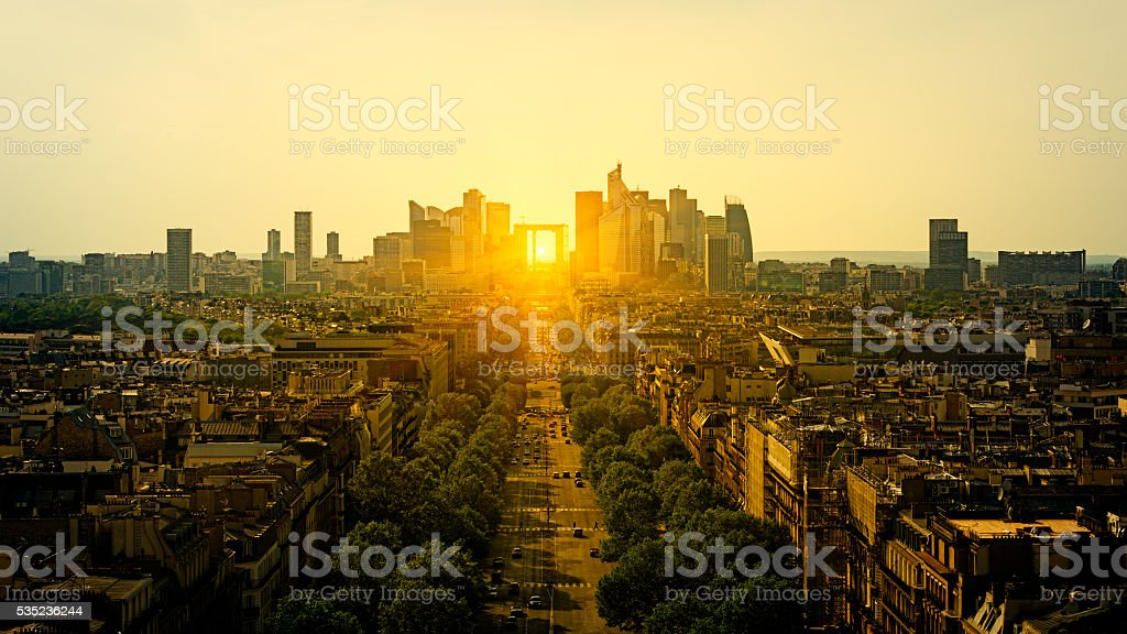 View to La Defense from Arc of Triumph in Paris stock photo