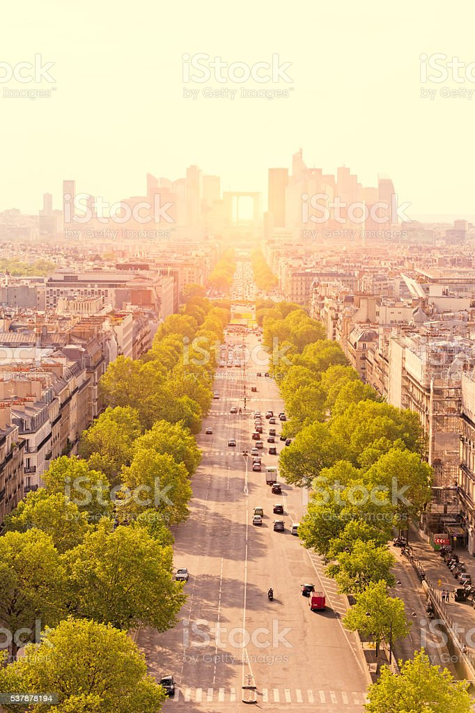 View to La Défense from Arc of Triumph in Paris stock photo