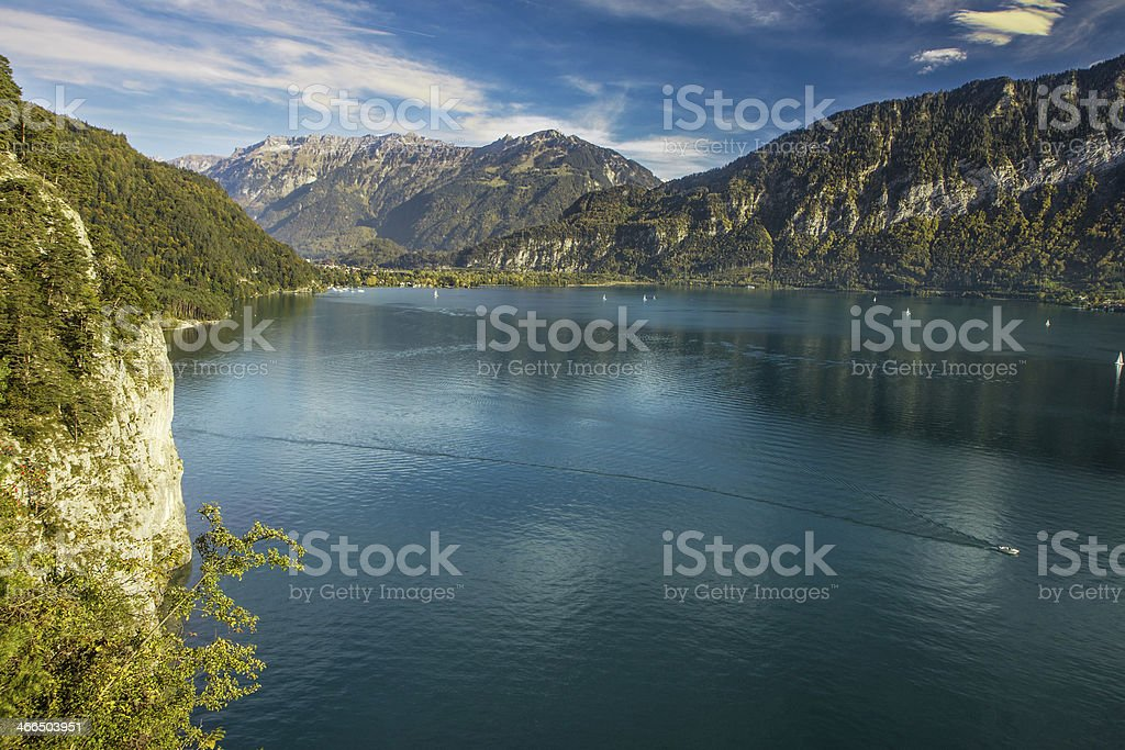 View to Lake Brienz in autumn beautiful weather, Switzerland royalty-free stock photo