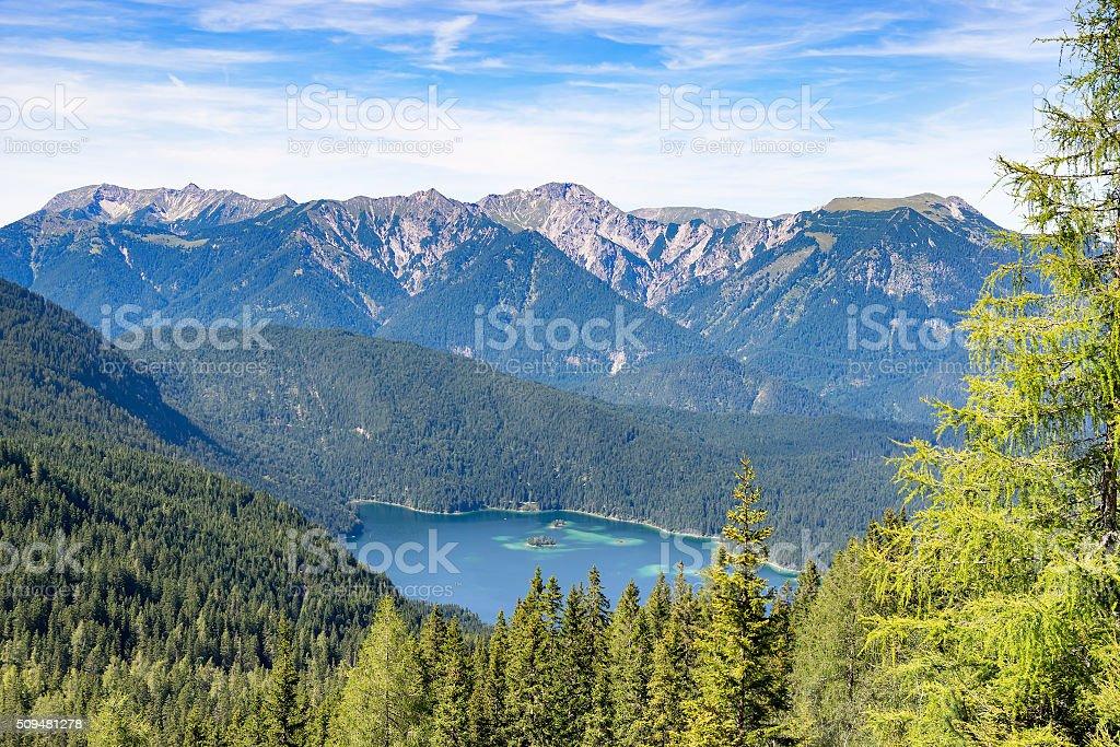 View to lake Eibsee stock photo