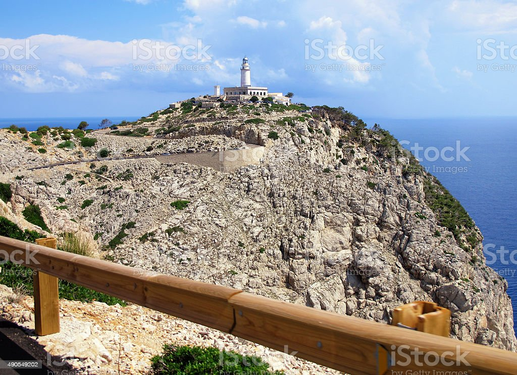 View to lighthouse of Cap Fomentor (Mallorca) stock photo