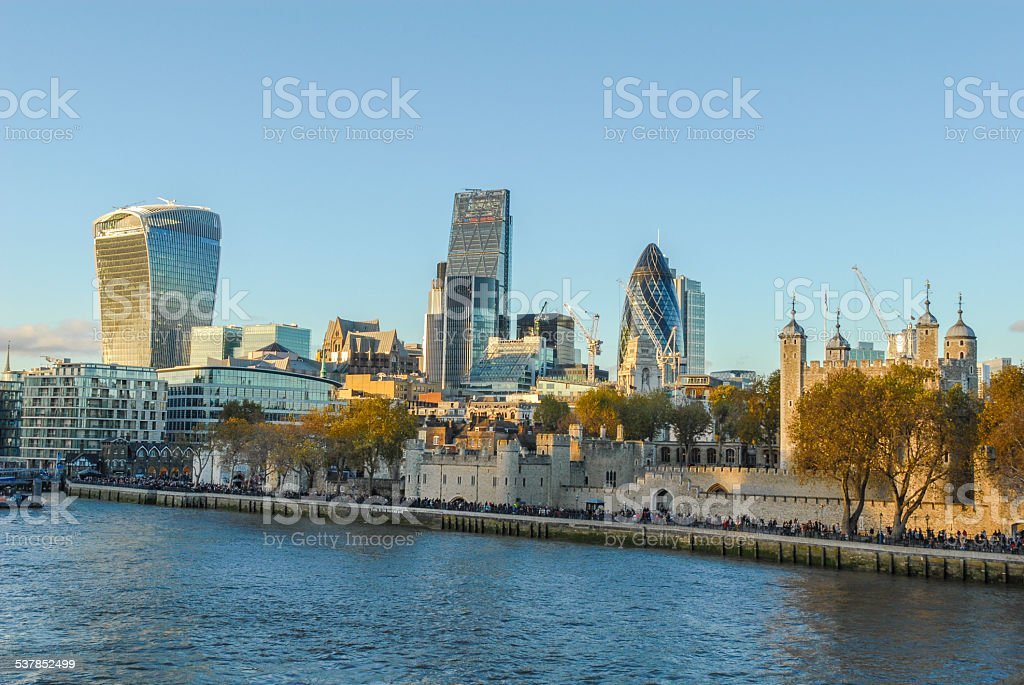 view to London from river Thames stock photo