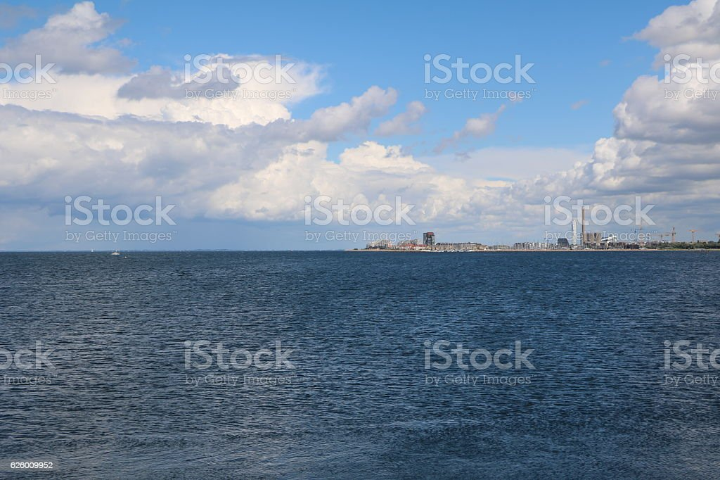 View to Malmö in Sweden on the Baltic Sea stock photo
