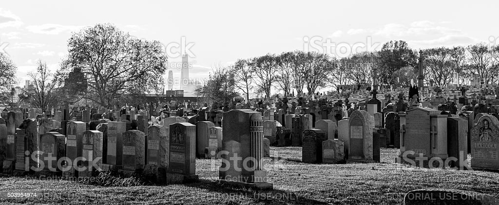 View to Manhattan across the Calvary Cemetery stock photo