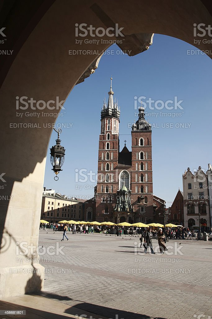 View to Mariacki church, Krakow royalty-free stock photo