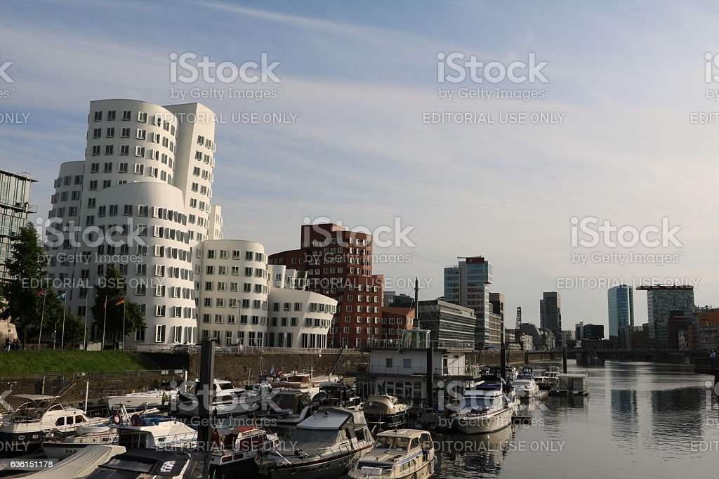 View to Media Harbor in Duesseldorf on Rhine, Germany stock photo