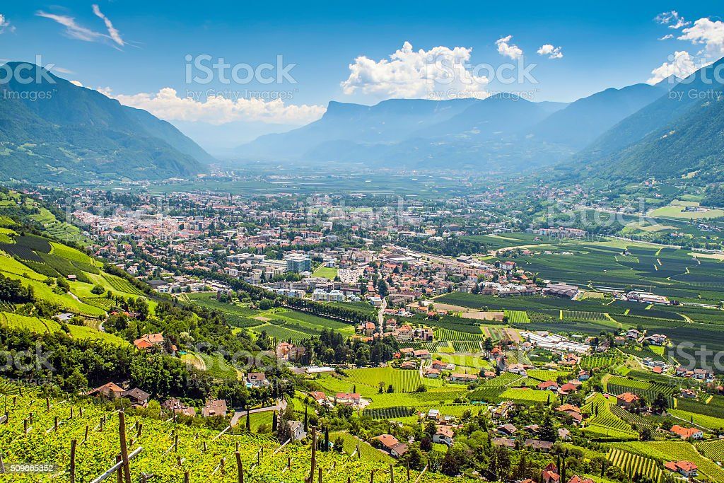 View to Merano South Tirol stock photo