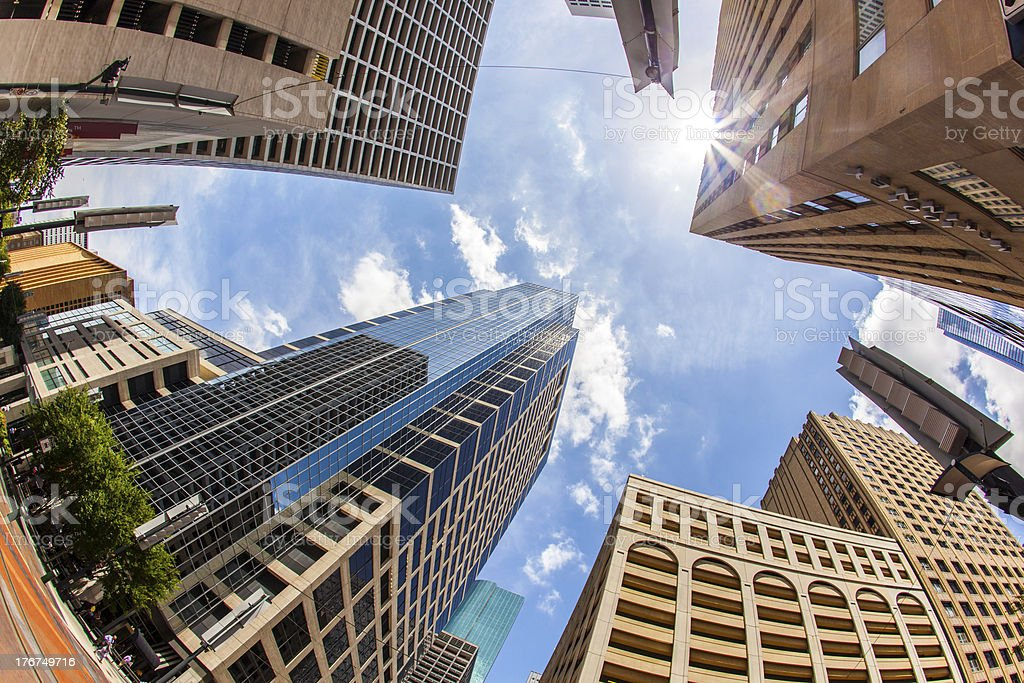 view to modern skyscraper in downtown Houston stock photo