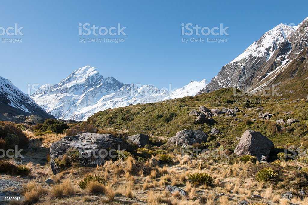 View to mt Cook from Hooker Valley, Aoraki, New Zealand stock photo