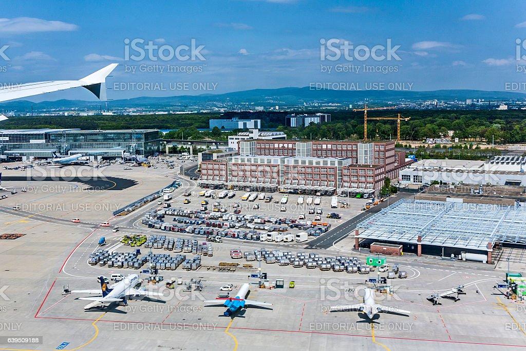 view to new Terminal 2 at Frankfurt international Airport stock photo