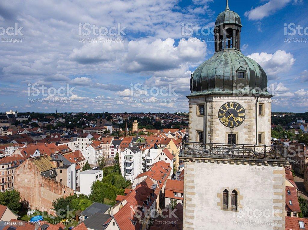 View to Nikolai Church tower in Altenburg Thuringia stock photo