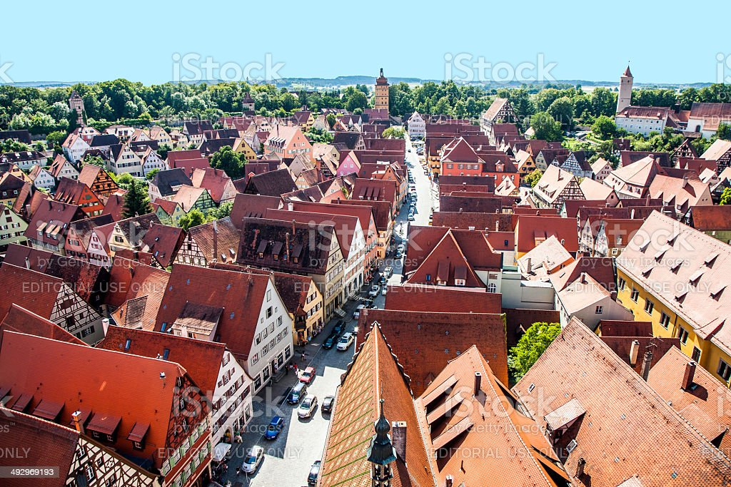 view to old medieval city  in Dinkelsbuehl stock photo