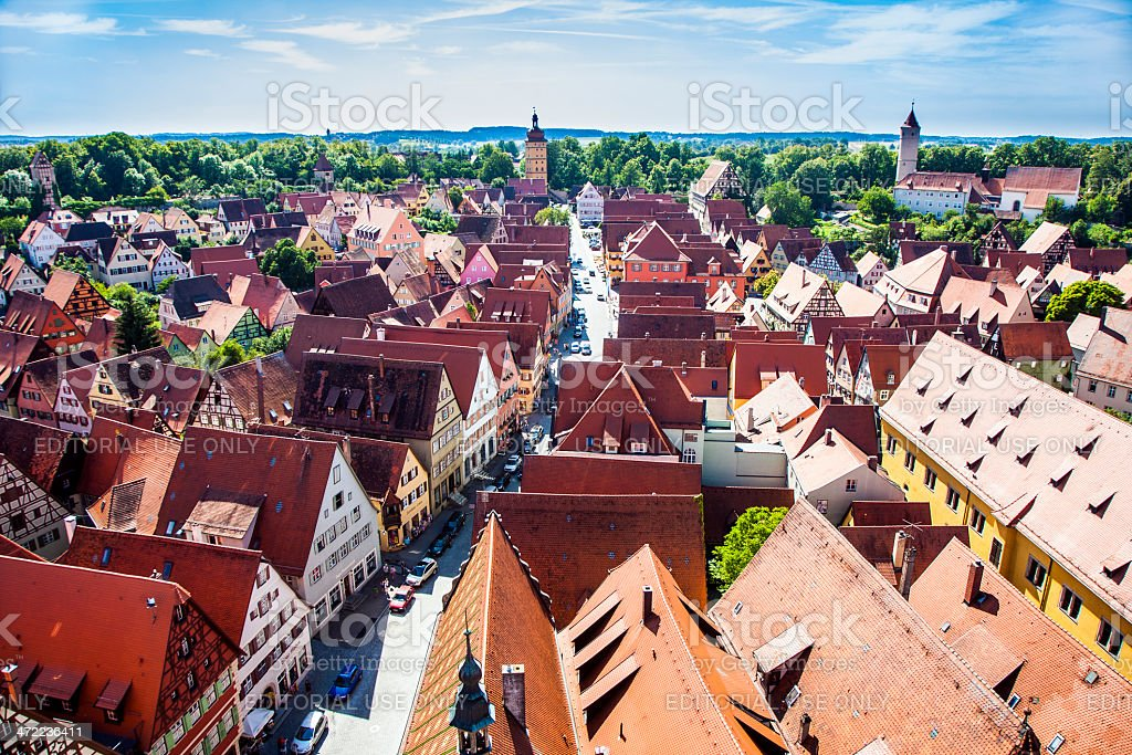 view to old medieval city of Dinkelsbuehl, Germany stock photo