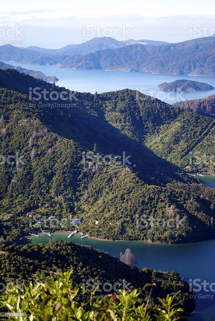 View to Onahau Bay, Marlborough Sounds, NZ royalty-free stock photo