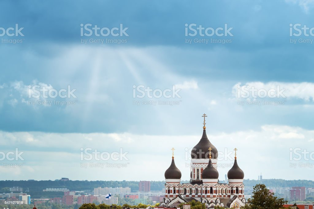 view to Orthodox church Alexander Nevsky in old Tallinn stock photo