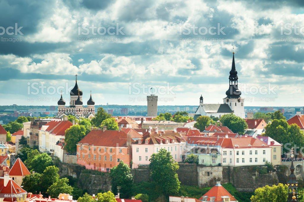 view to Orthodox church Alexander Nevsky in old Tallinn stock photo