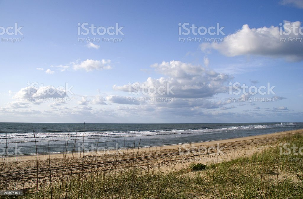 A view to Outer Banks in Ocracoke Beach stock photo