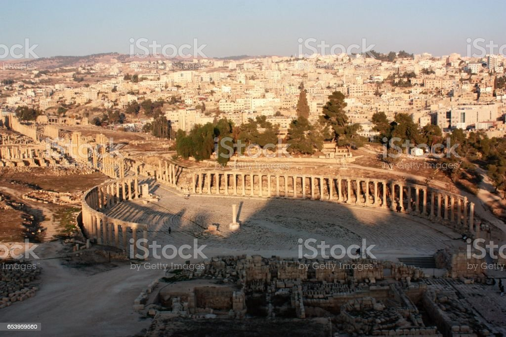View to Oval Forum in Jerash in Jordan, Middle East stock photo
