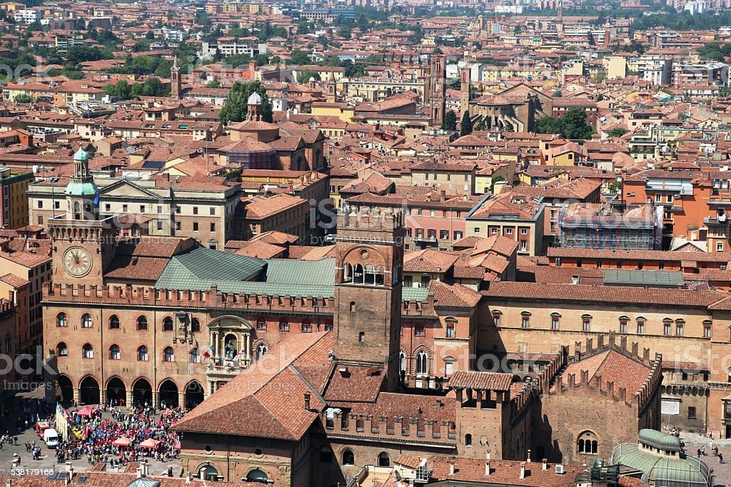 View to Palazzo Re Enzo in Bologna Italy stock photo