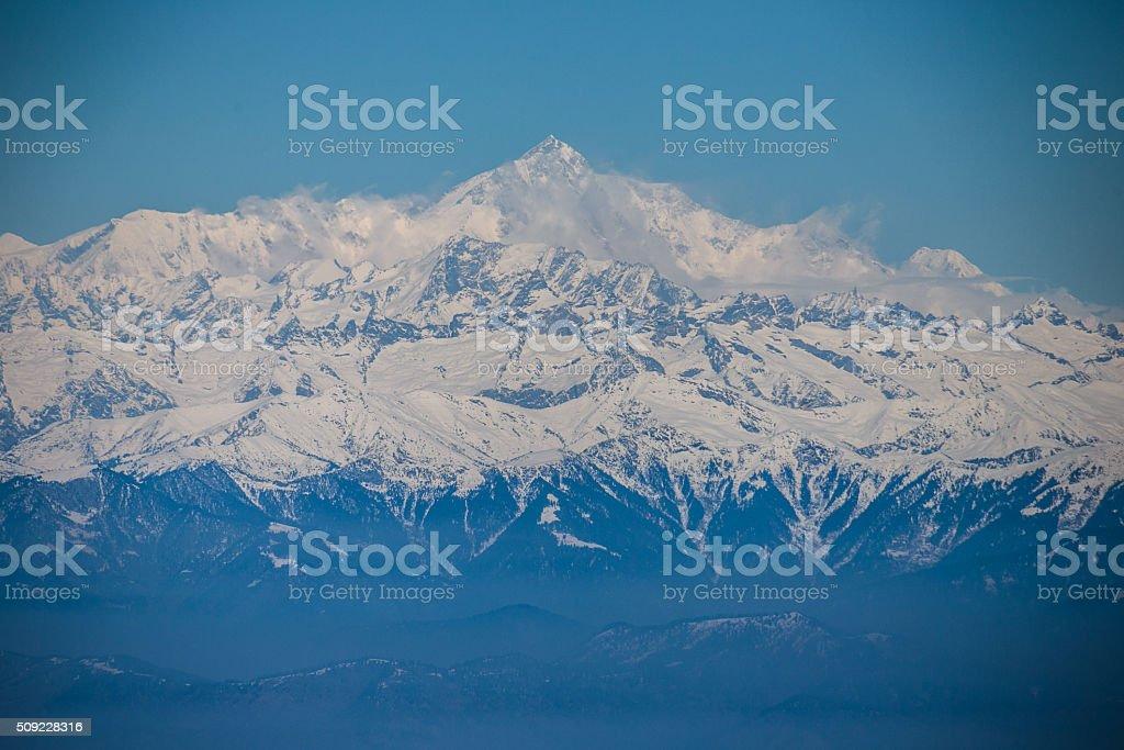 View to peak  Nanga Parbat from Gulmarg. stock photo